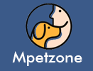 Lady Showing Love To a Dog in Light brown colour with written mpetzone below the circle